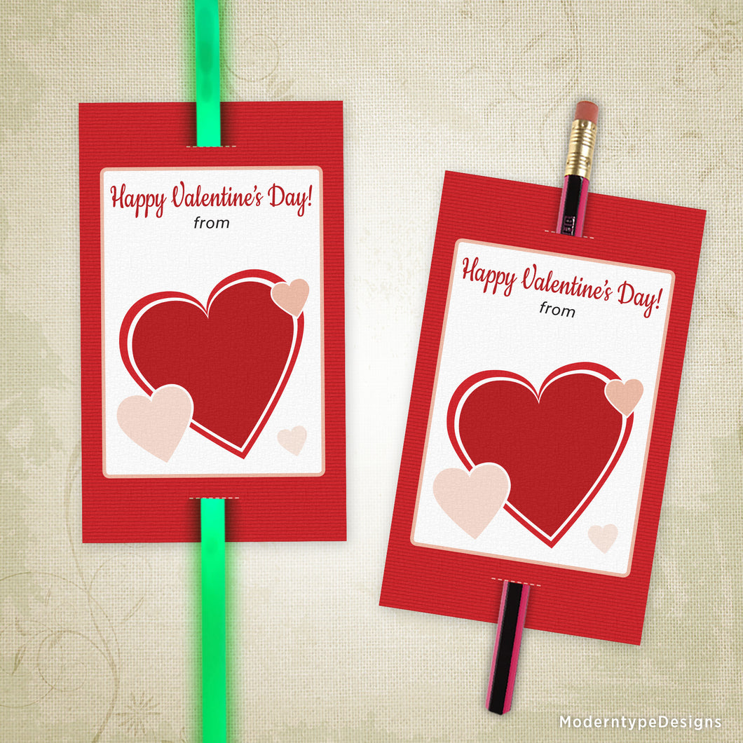 Valentine's Day Glow Stick Pencil Tag Printable (editable)