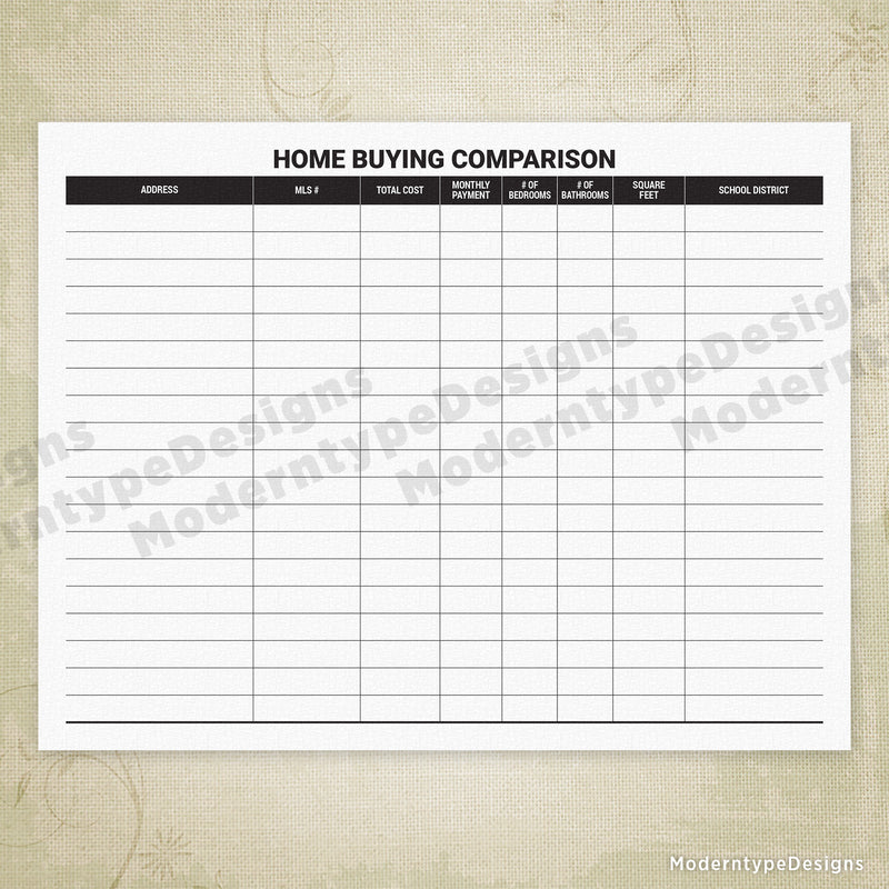 Home Buying Comparison Chart Printable