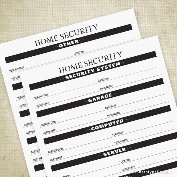 Home Security Printable - End of Life