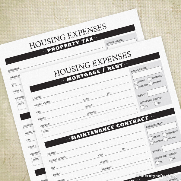 Housing Expenses Printable - End of Life
