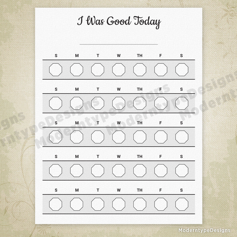I Was Good Today Printable Chart