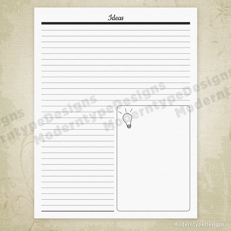 Ideas List Printable with Lines