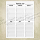 Important Dates Monthly Printable