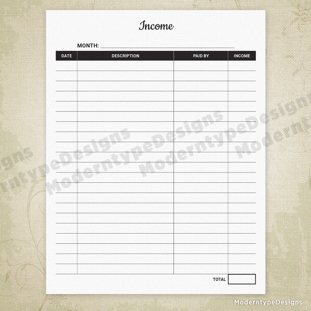 photograph about Income Tracker Printable called Dollars Tracker Printable