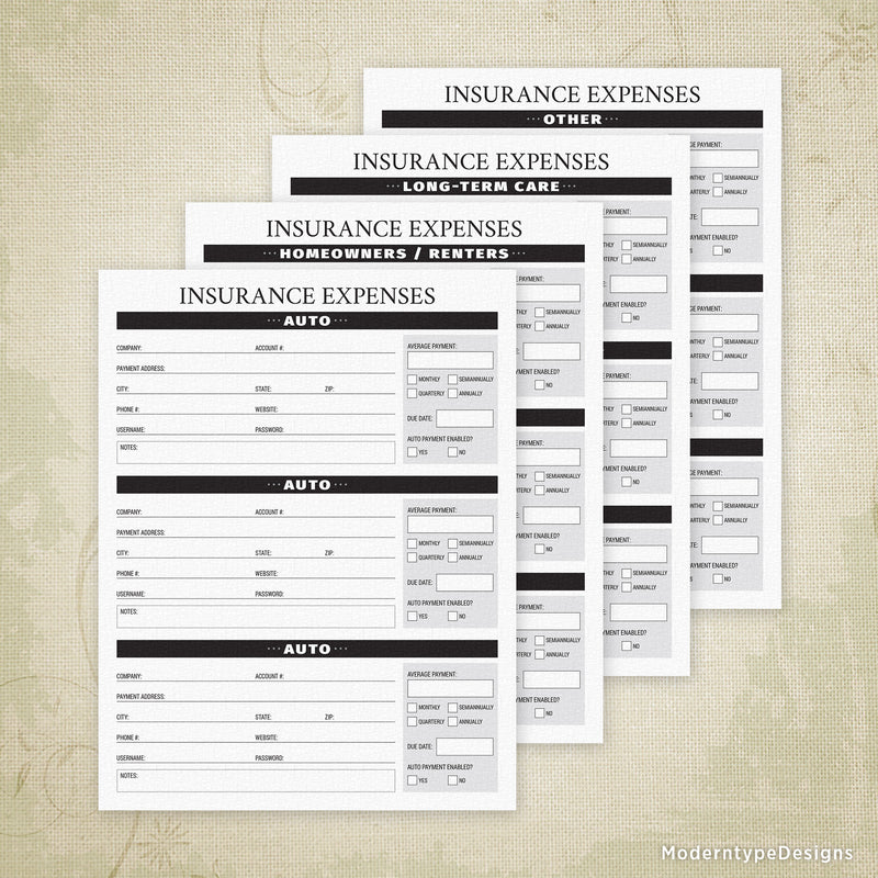 Insurance Expenses Printable - End of Life