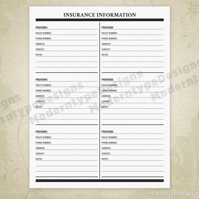 Insurance Information Printable