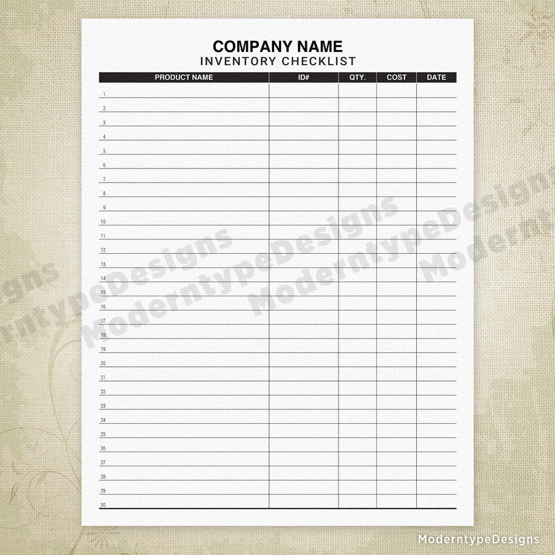 Inventory Checklist Tracker Printable (personalized)