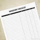 Inventory Checklist Printable