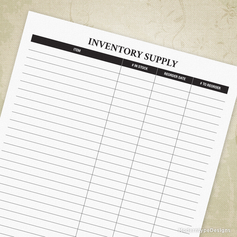 Inventory Supply Printable
