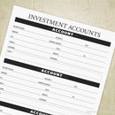 Investment Accounts Printable - End of Life