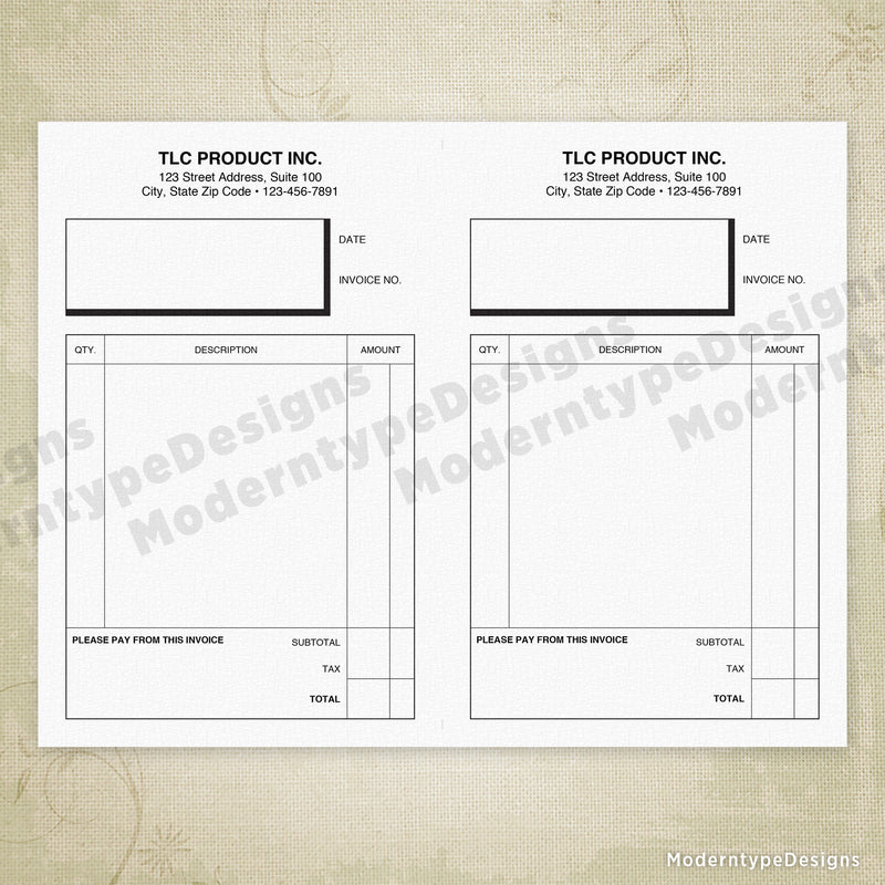 "Invoice Form Printable 5.5 x 8.5"" Half Sheet (personalized)"