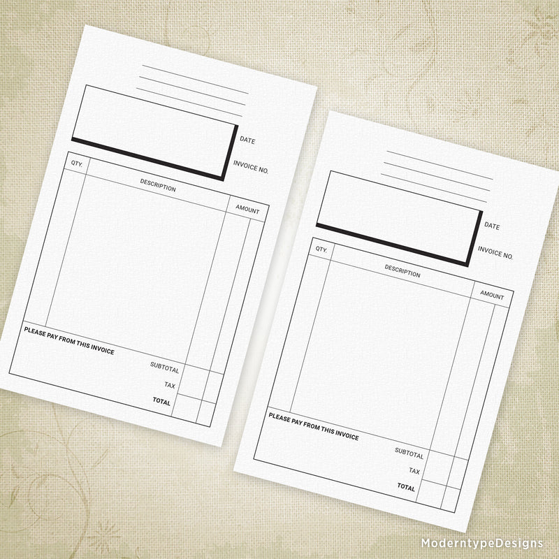 "Invoice Form Printable 5.5 x 8.5"", Half Sheet"