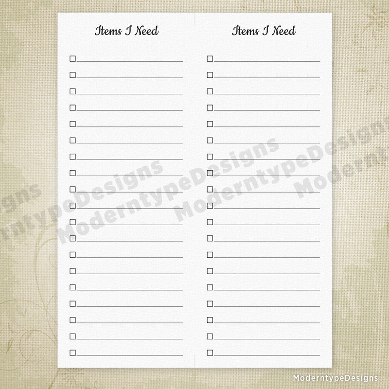 Items I Need Printable for 4.25 x 11""