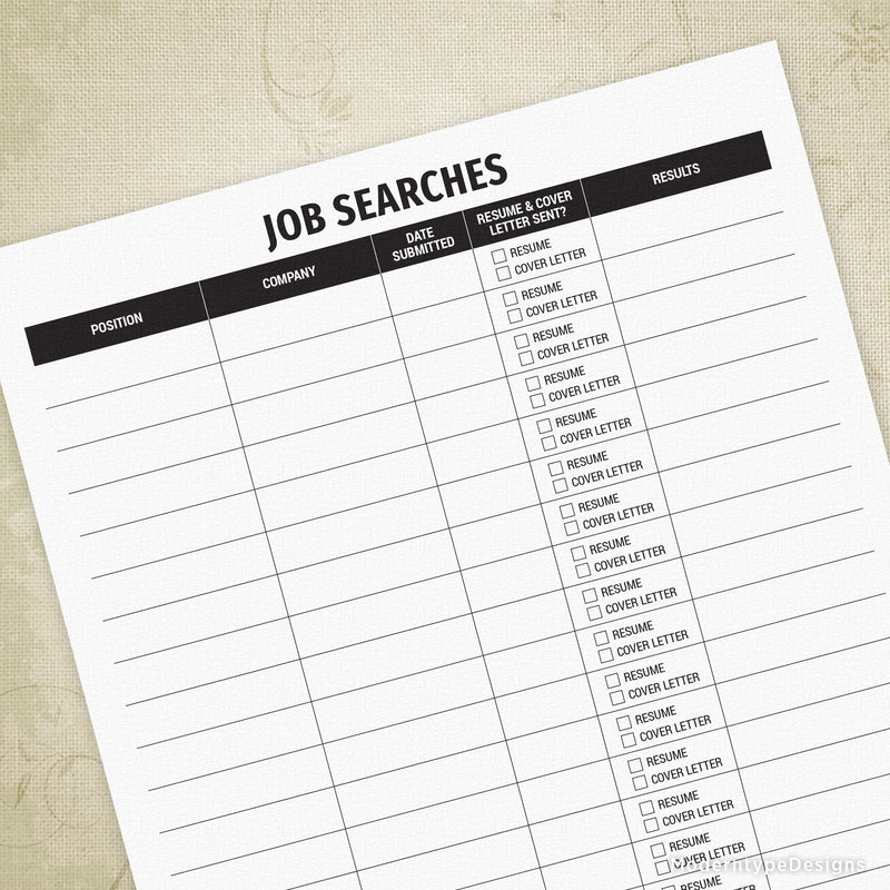 Job Searches Log Printable
