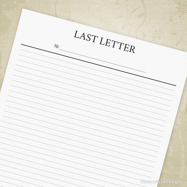 Blank Last Letter Printable - End of Life