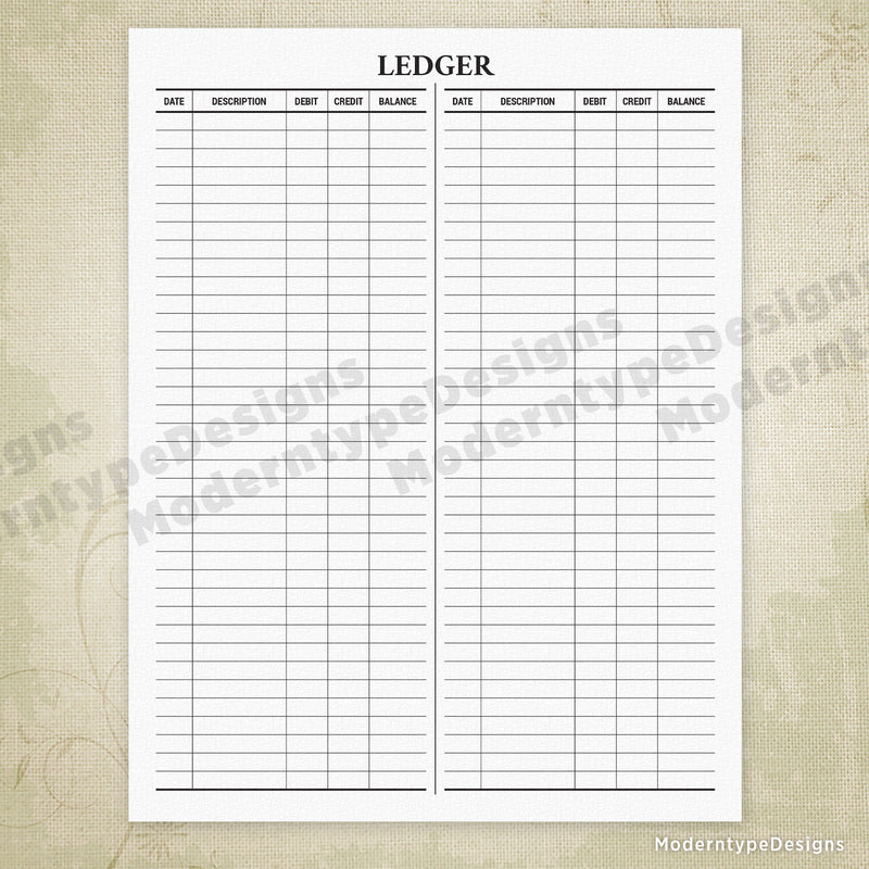 Basic Ledger Printable