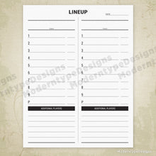 Baseball Lineup List Printable