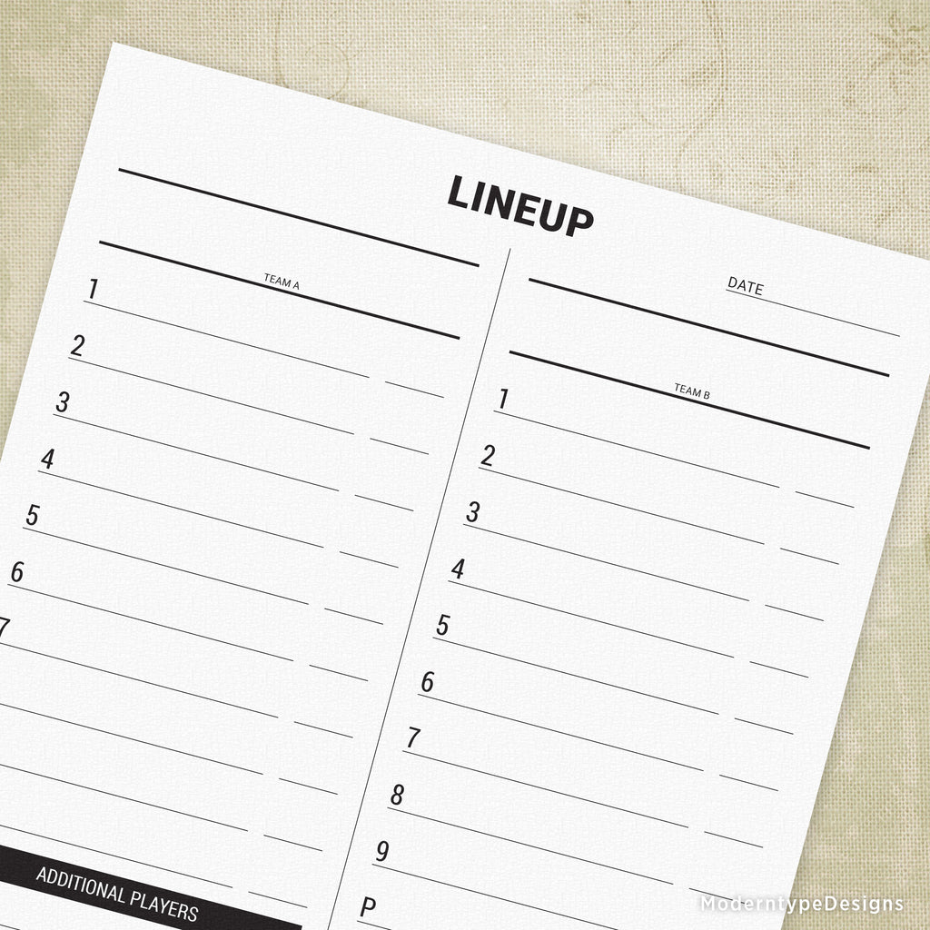 This is a graphic of Printable Baseball Lineup Cards throughout batting order