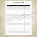 Maintenance Log for the Home Printable