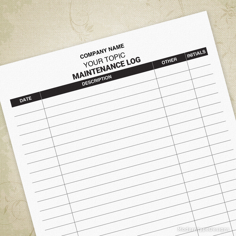 Maintenance Log for Businesses Printable (personalized)