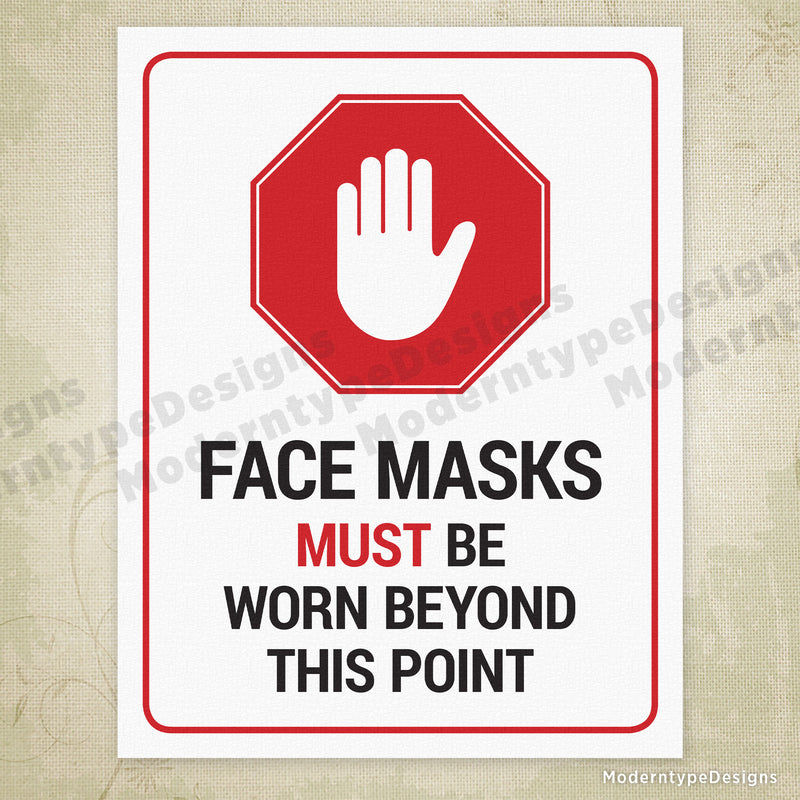 Face Masks Must Be Worn Beyond This Point Printable Sign