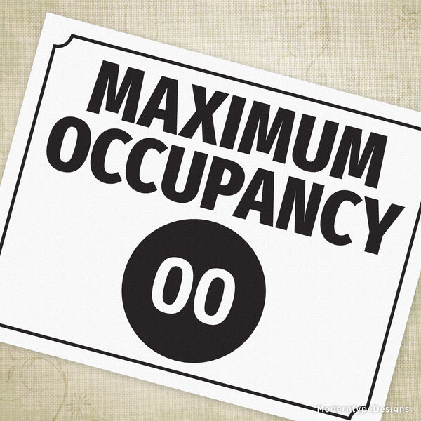 Maximum Occupancy Printable Sign (editable)