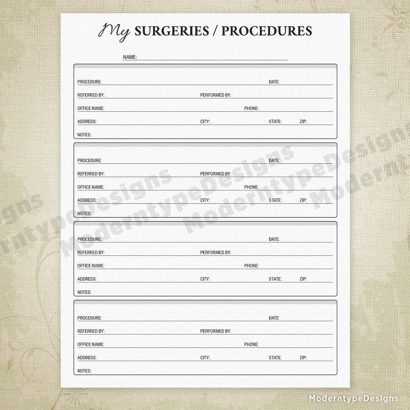 Medical History Printable Kit for Family Members