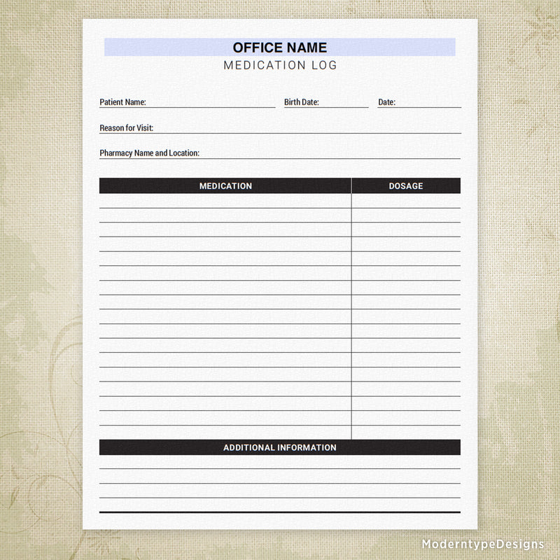 Medication Log Printable Form for Offices (editable)