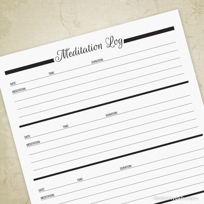 Meditation Log Printable