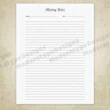 Meeting Notes Simple Planner Printable for Binding