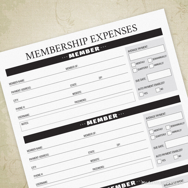 Membership Expenses Printable - End of Life