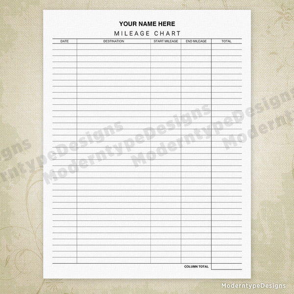 Car Mileage Tracker Chart Printable Form (editable)
