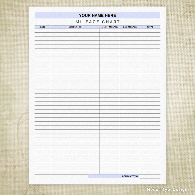 Car Mileage Tracker Chart Printable Form (personalized)