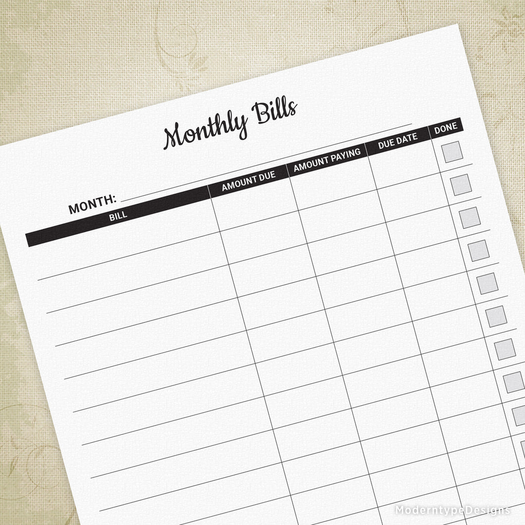 photograph regarding Monthly Bill Tracker Printable identified as Month-to-month Monthly bill Tracker Printable