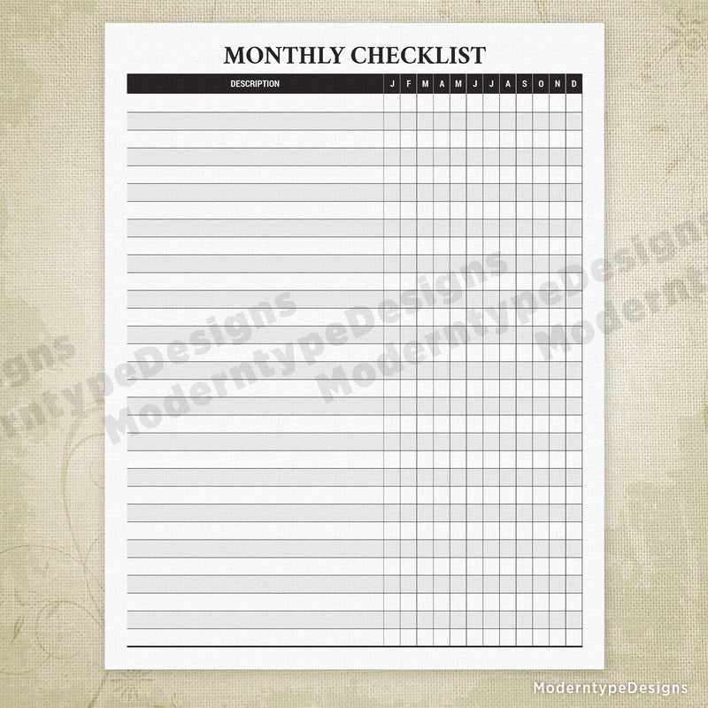 Monthly Checklist Printable