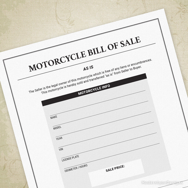 Motorcycle Bill of Sale Printable