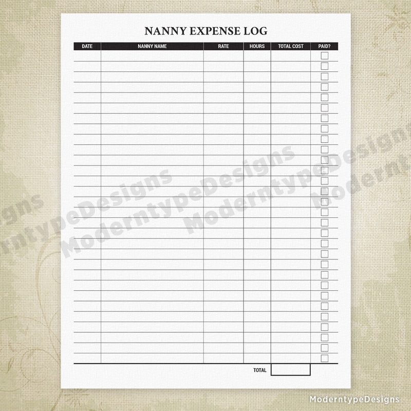 Nanny Expense Log for Parents Printable