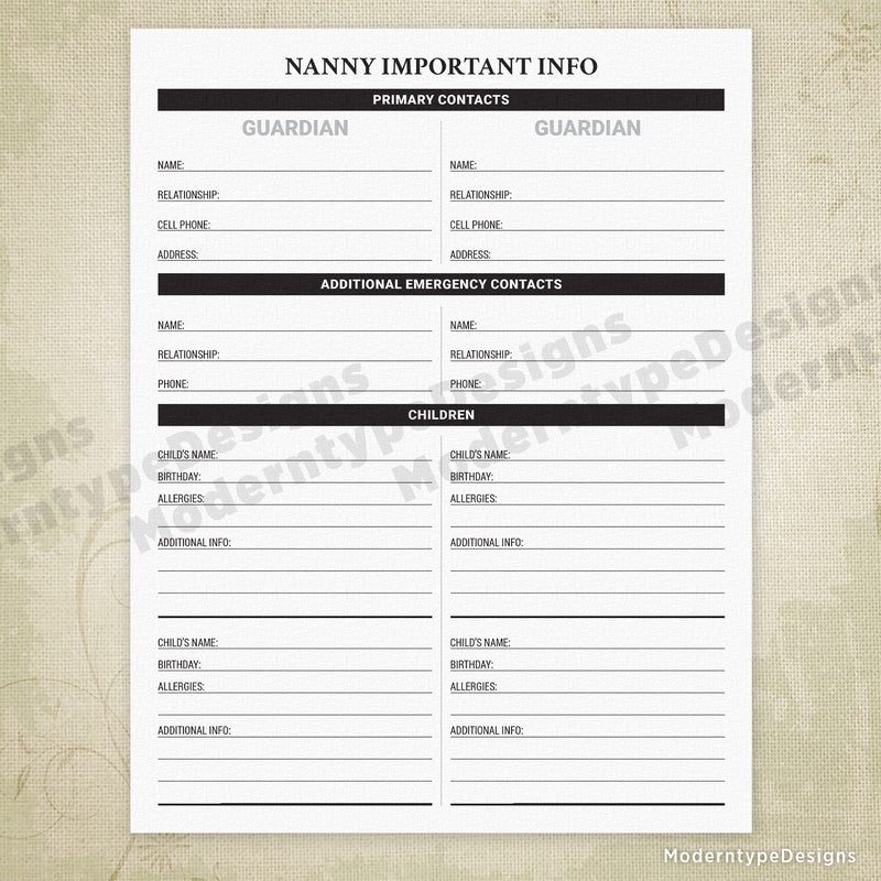 Nanny Important Info Printable