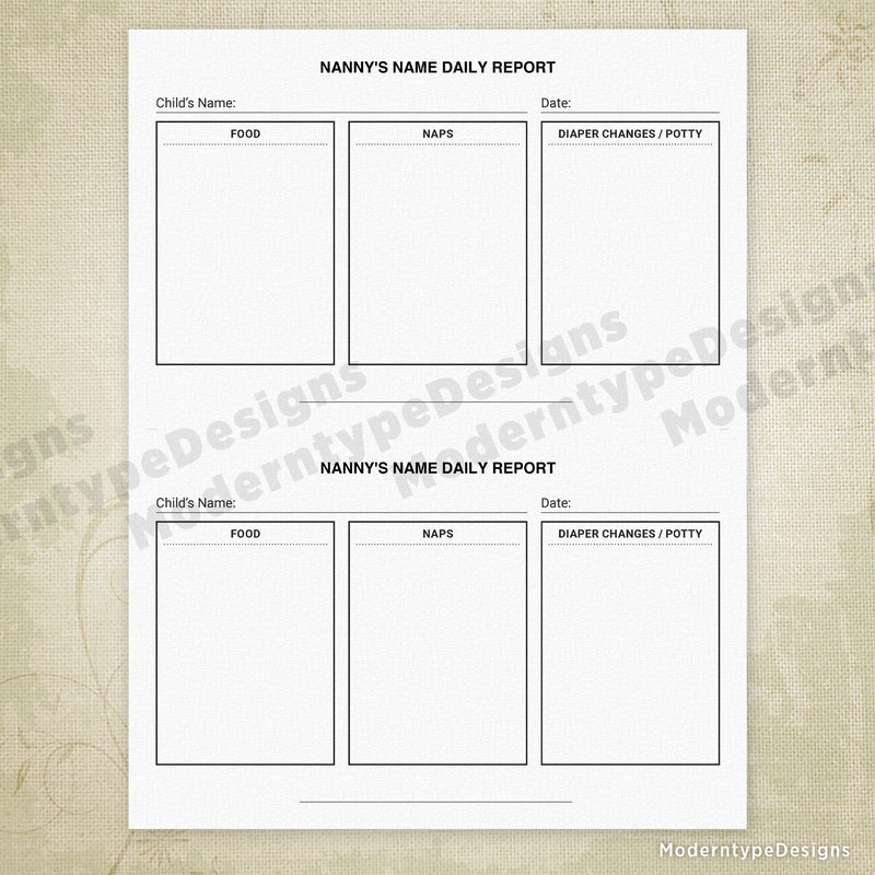 Nanny Daily Report Printable (editable)