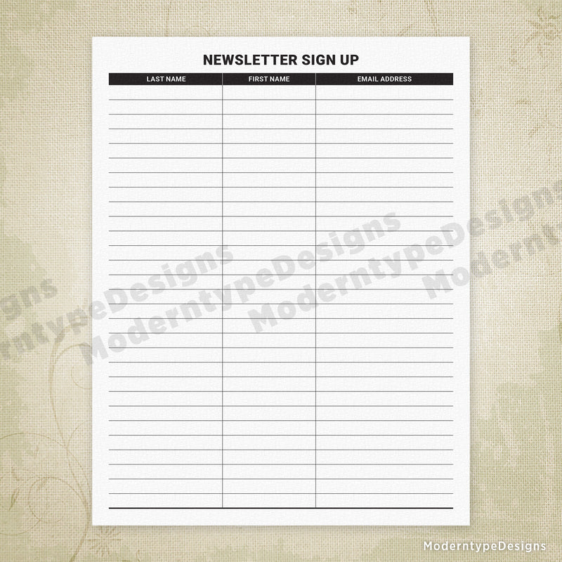 Newsletter Sign Up Printable Form