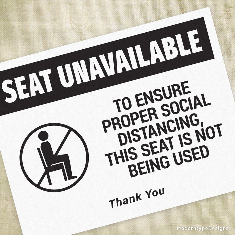 Seat Unavailable Printable Sign