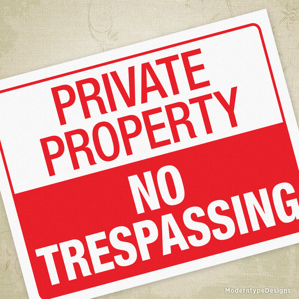 No Trespassing Private Property Printable Sign