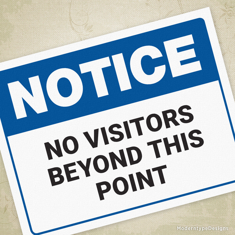 No Visitors Beyond This Point Printable Sign