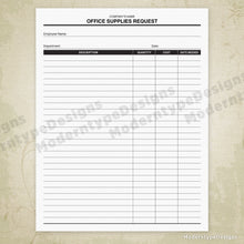 Load image into Gallery viewer, Office Supplies Request Printable Form (editable)