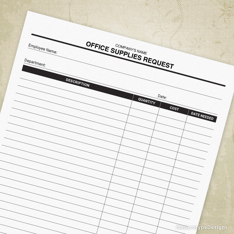 Office Supplies Request Printable Form (personalized)