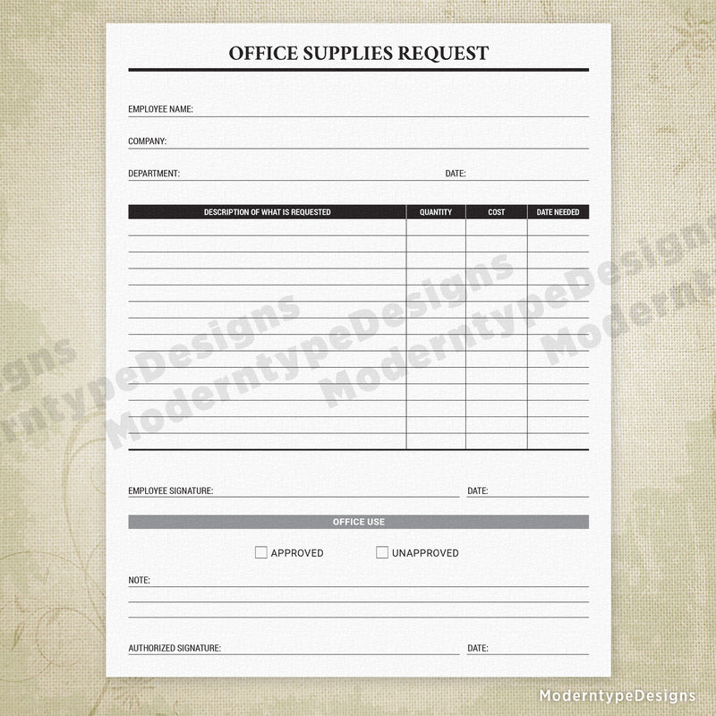 Office Supplies Request Printable Form