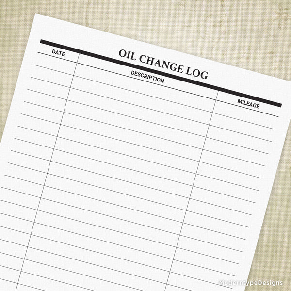 Oil Change Log Printable