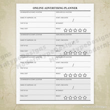 Online Advertising Planner Printable