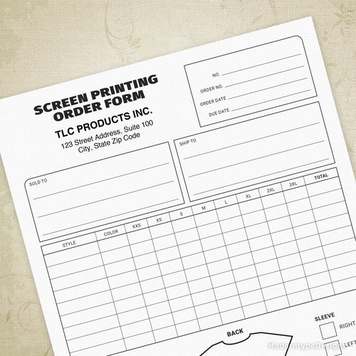 Screen Printing Order Form Printable (editable)