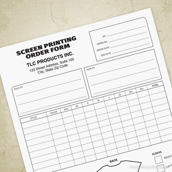 Screen Printing Order Form Printable (personalized)
